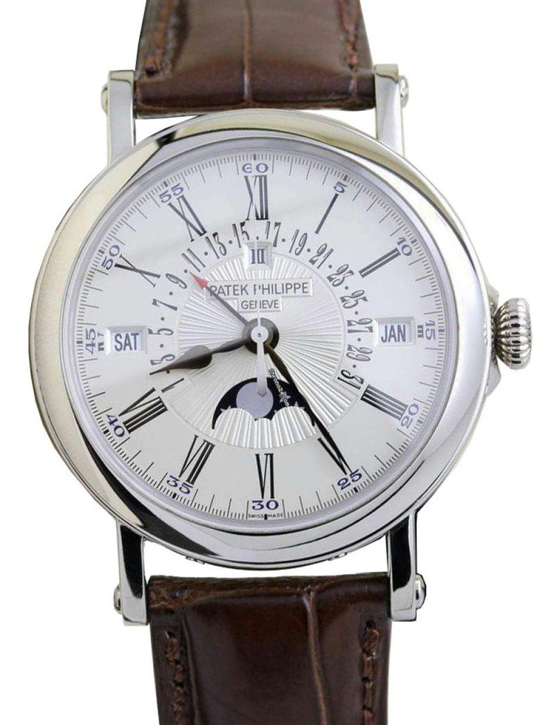 Men's Patek Philippe 5159G-001 Grand Complications Day Month Annual Calendar Moon Phase 38mm White Opaline Roman White Gold Leather Automatic BRAND NEW