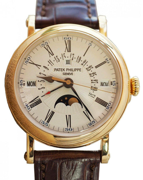 Men's Patek Philippe 5159J-001 Grand Complications Day Month Annual Calendar Moon Phase 38mm White Opaline Roman Yellow Gold Leather Automatic BRAND NEW - Global Timez