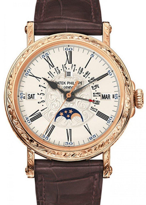 Men's Patek Philippe 5160R-001 Grand Complications Perpetual Calendar Day Month Moon Phase 38mm White Opaline Roman Rose Gold Leather Automatic BRAND NEW - Global Timez
