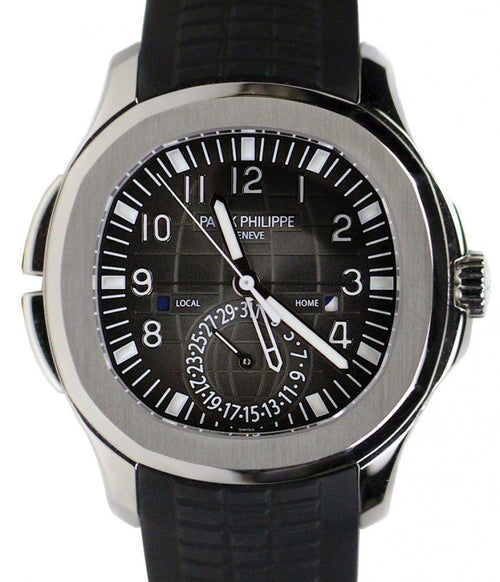 Men's Patek Philippe 5164A-001 Aquanaut 40.8mm Black Embossed Arabic Date Stainless Steel Rubber Automatic BRAND NEW - Global Timez