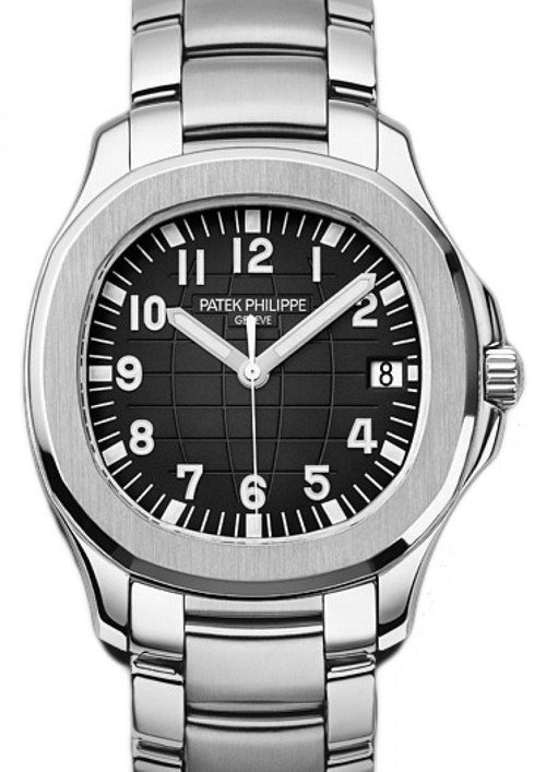 Men's Patek Philippe Aquanaut Black Embossed Arabic Date Stainless Steel Bezel & Bracelet 40mm 5167/1A-001 - BRAND NEW - Global Timez