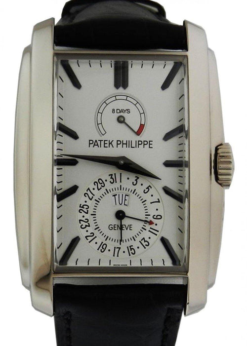 Men's Patek Philippe 5200G-010 Gondolo 32.4 × 46.9mm Silver Opaline Index 8-Days Day-Date White Gold Leather Manual - BRAND NEW - Global Timez