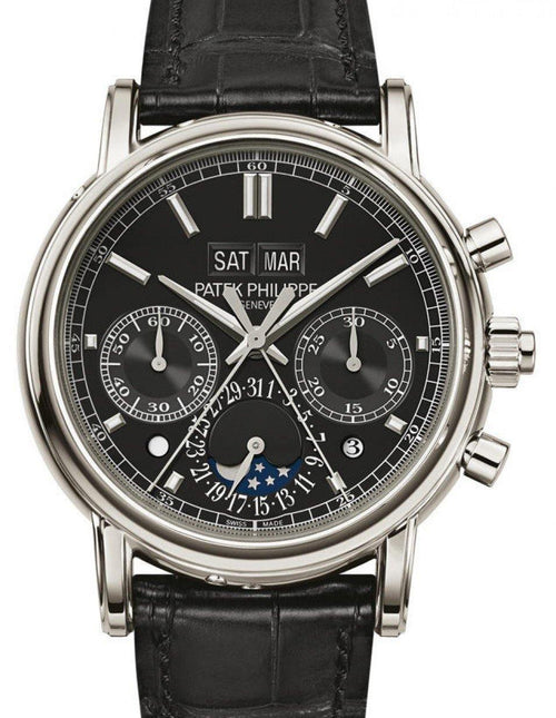 Men's Patek Philippe 5204P-011 Grand Complications Day Month Annual Calendar Moon Phase 40mm Black Index Platinum Leather Manual BRAND NEW - Global Timez