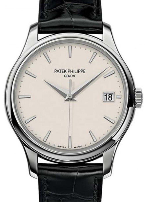 Men's Patek Philippe 5227G-001 Calatrava 39mm Ivory Index Date White Gold Leather BRAND NEW - Global Timez