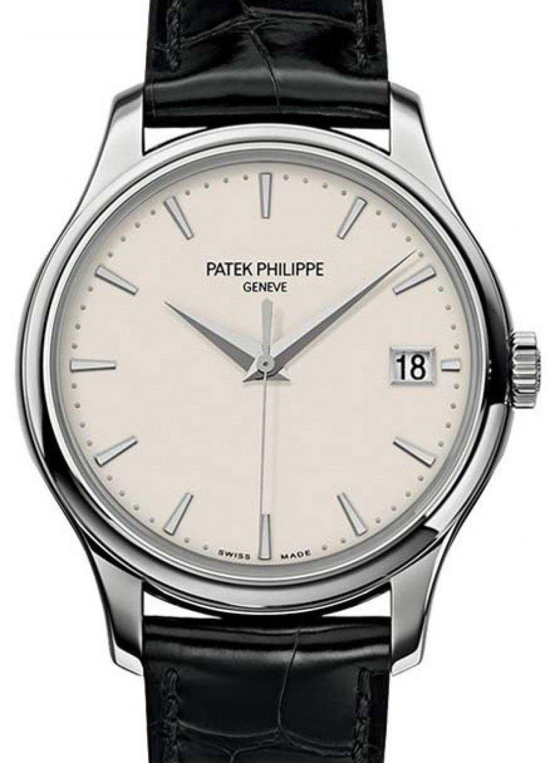 Men's Patek Philippe 5227G-001 Calatrava 39mm Ivory Index Date White Gold Leather BRAND NEW