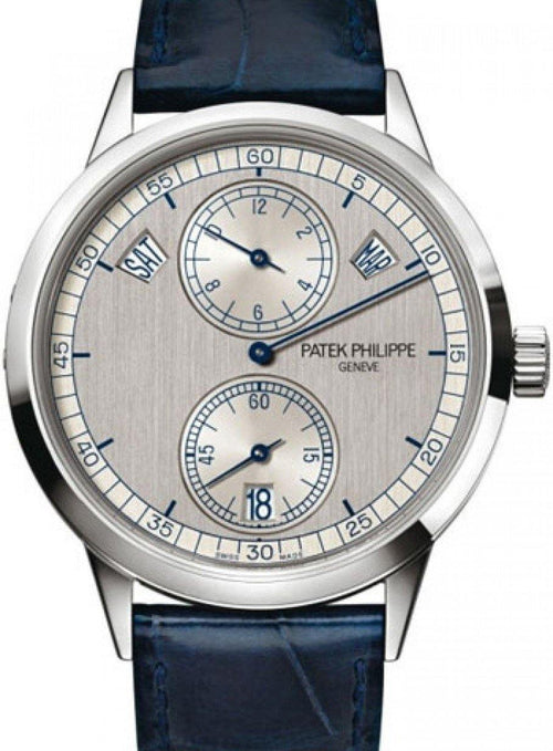 Men's Patek Philippe 5235G-001 Complications Day-Date Annual Calendar 40.5mm Silver Index White Gold Automatic BRAND NEW - Global Timez