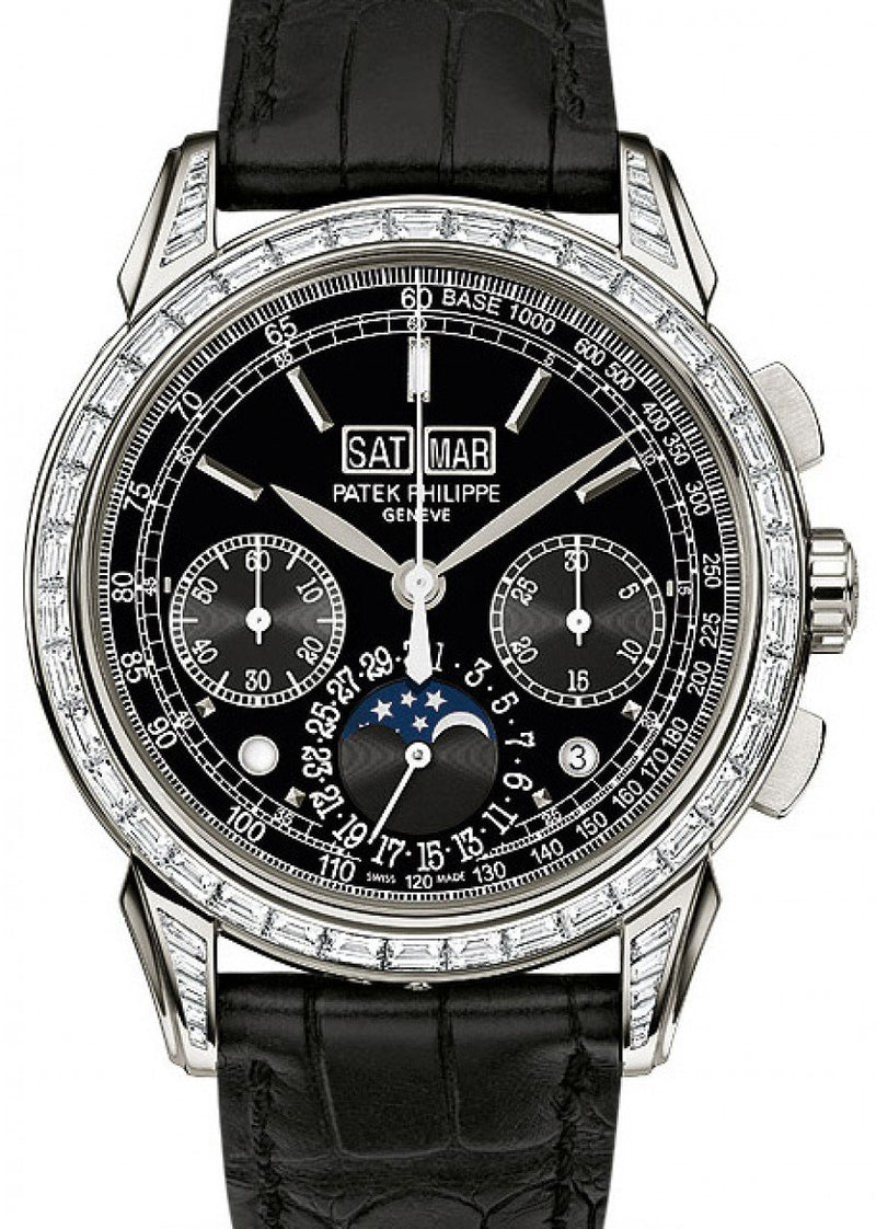 Men's Patek Philippe 5271P-001 Grand Complications Perpetual Calendar Moon Phase Chronograph 41mm Black Index Platinum Leather Manual BRAND NEW