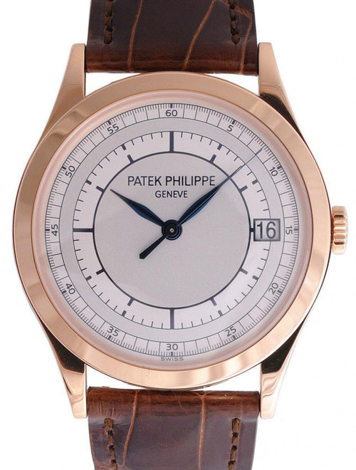 Men's Patek Philippe 5296R-001 Calatrava 38mm Silver Date Rose Gold Leather BRAND NEW - Global Timez