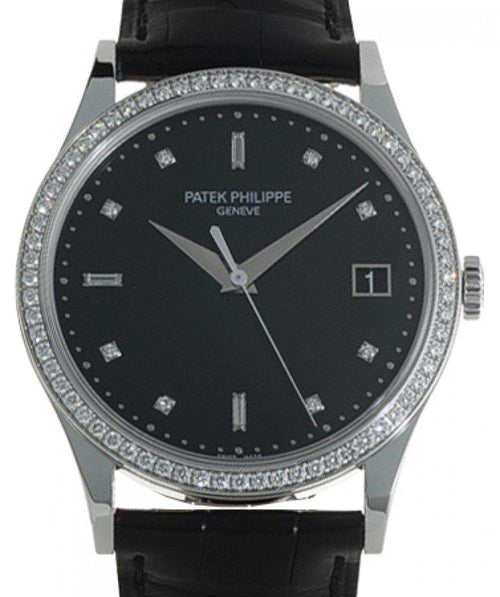 Men's Patek Philippe 5297G-001 Calatrava 38mm Black Diamond Set Date White Gold Leather BRAND NEW - Global Timez