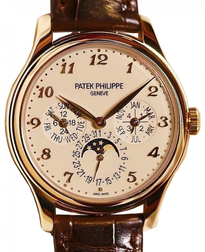 Men's Patek Philippe 5327R-001 Grand Complications 39mm Ivory Arabic Rose Gold Leather BRAND NEW