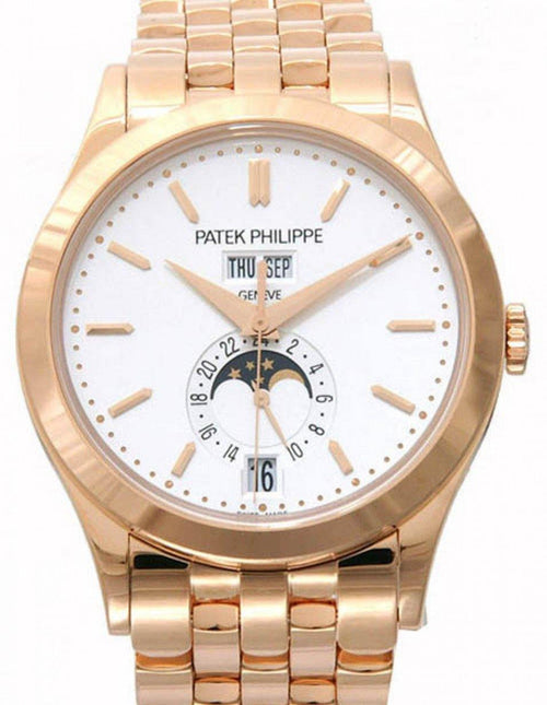 Men's Patek Philippe 5396/1R-010 Complications Day-Date Annual Calendar Moon Phase 38.5mm Silver Opaline Index Rose Gold Automatic BRAND NEW - Global Timez