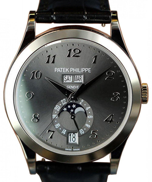 Men's Patek Philippe Complications Charcoal Gray Sunburst Arabic Dial White Gold Bezel Black Leather Strap 38.5mm 5396G-014 - BRAND NEW - Global Timez