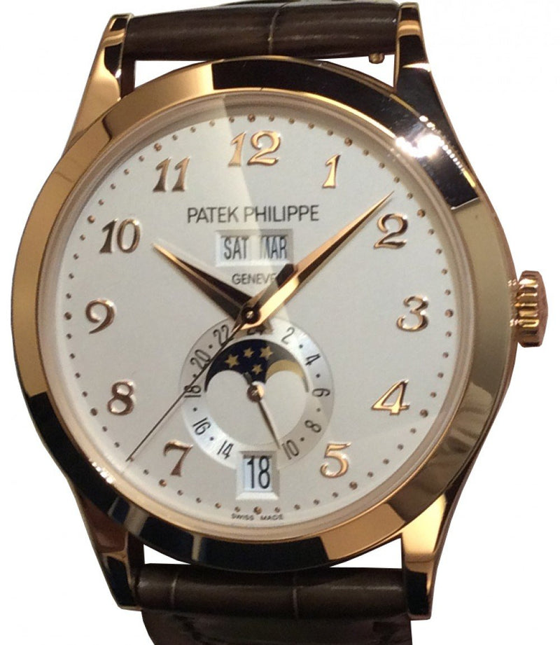 Men's Patek Philippe 5396R-012 Complications 38.5mm Silver Opaline Arabic Rose Gold Leather BRAND NEW