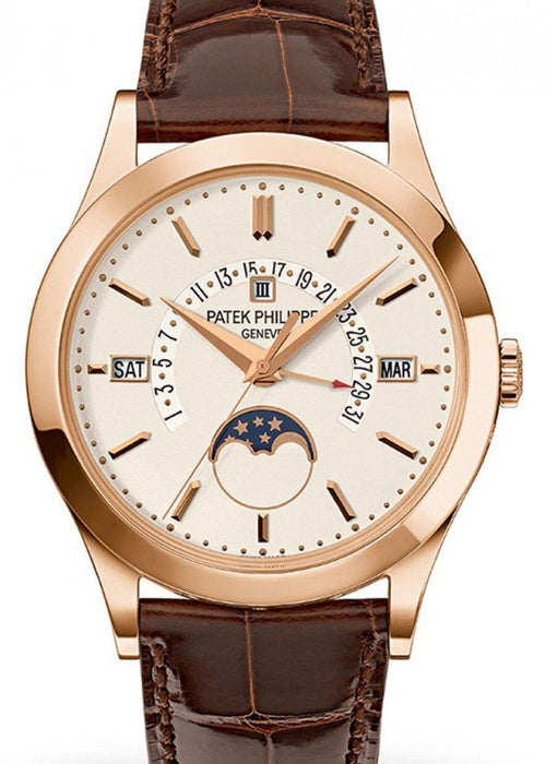 Men's Patek Philippe 5496R-001 Grand Complications Perpetual Calendar Day-Date Moon Phase 39.5mm Silver Opaline Index Rose Gold Leather Automatic BRAND NEW - Global Timez