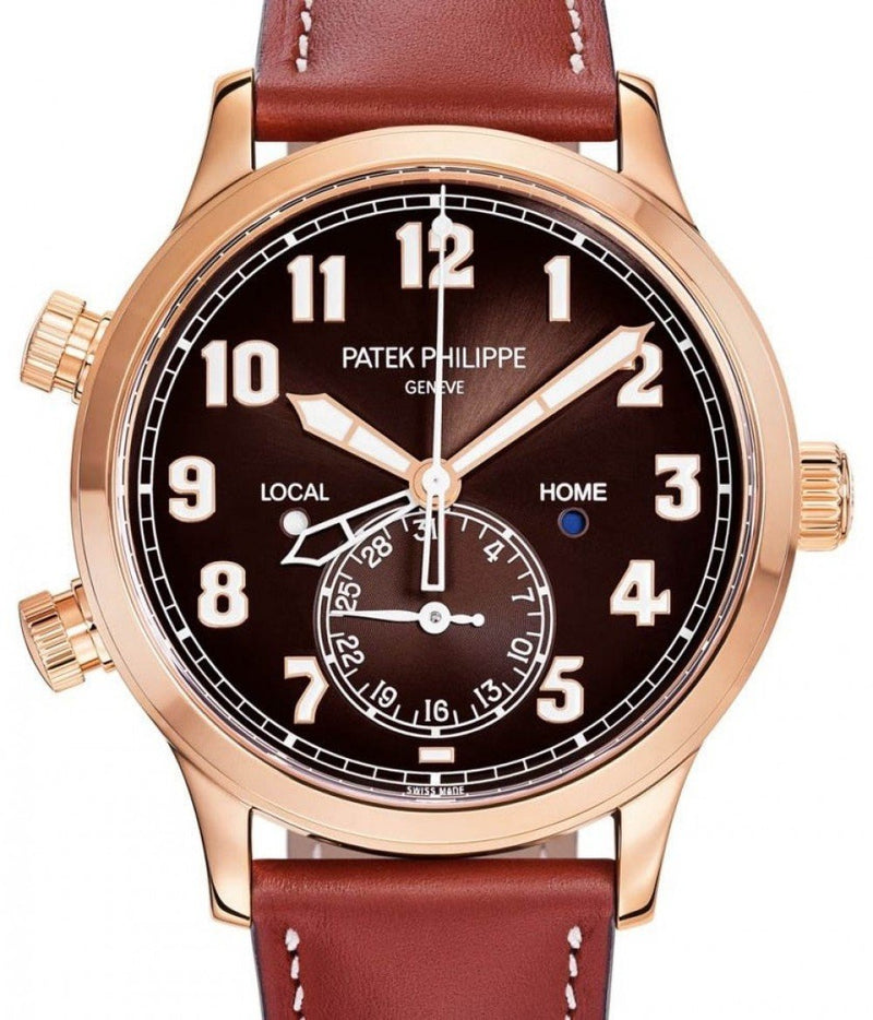 Men's Patek Philippe Complications Brown Sunburst Arabic Dial Rose Gold Bezel Brown Leather Strap 42mm 5524R-001 - BRAND NEW