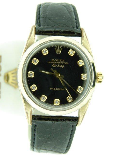 Men's Rolex Gold Shell Air-King Black Diamond 5520 PRE-OWNED - Global Timez