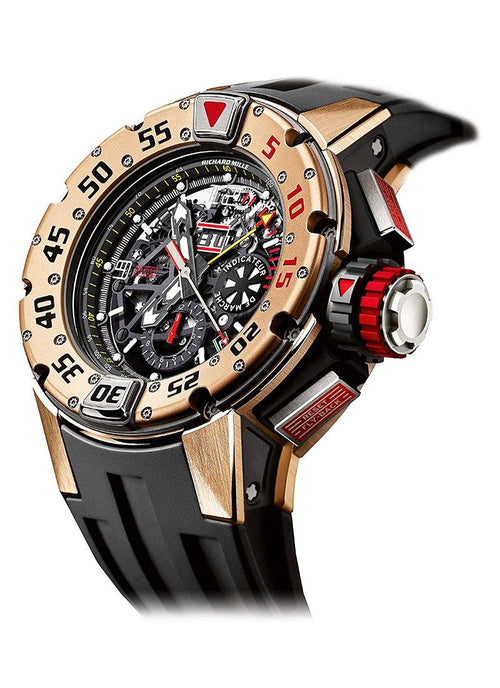 Men's RM032 Automatic Chronograph in Rose Gold on Black Rubber Strap with Skeleton Dial BRAND NEW - Global Timez
