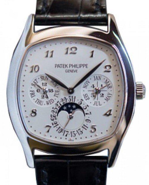 Men's Patek Philippe 5940G-001 Grand Complications Perpetual Calendar Day-Date Moon Phase 37 × 44.6mm Silver Opaline Arabic White Gold Leather Automatic - BRAND NEW - Global Timez