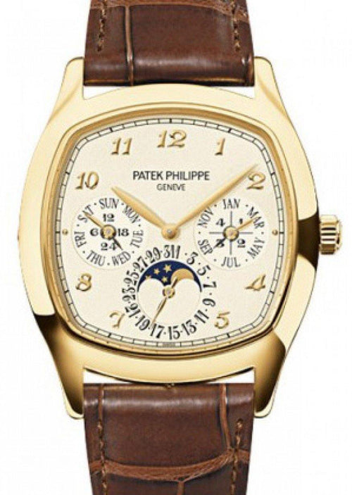 Men's Patek Philippe Grand Complications Perpetual Calendar Day-Date Moon Phase Cream Arabic Yellow Gold Leather 37 × 44.6mm 5940J-001 - BRAND NEW - Global Timez