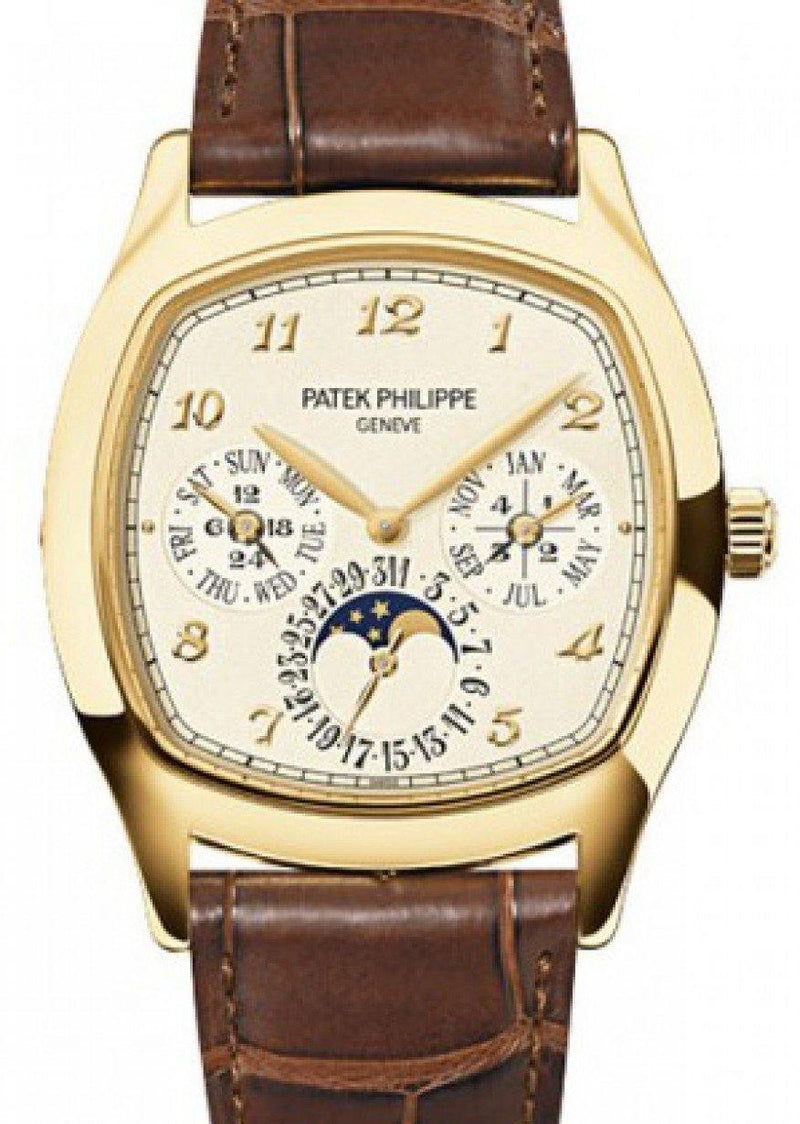 Men's Patek Philippe Grand Complications Perpetual Calendar Day-Date Moon Phase Cream Arabic Yellow Gold Leather 37 × 44.6mm 5940J-001 - BRAND NEW