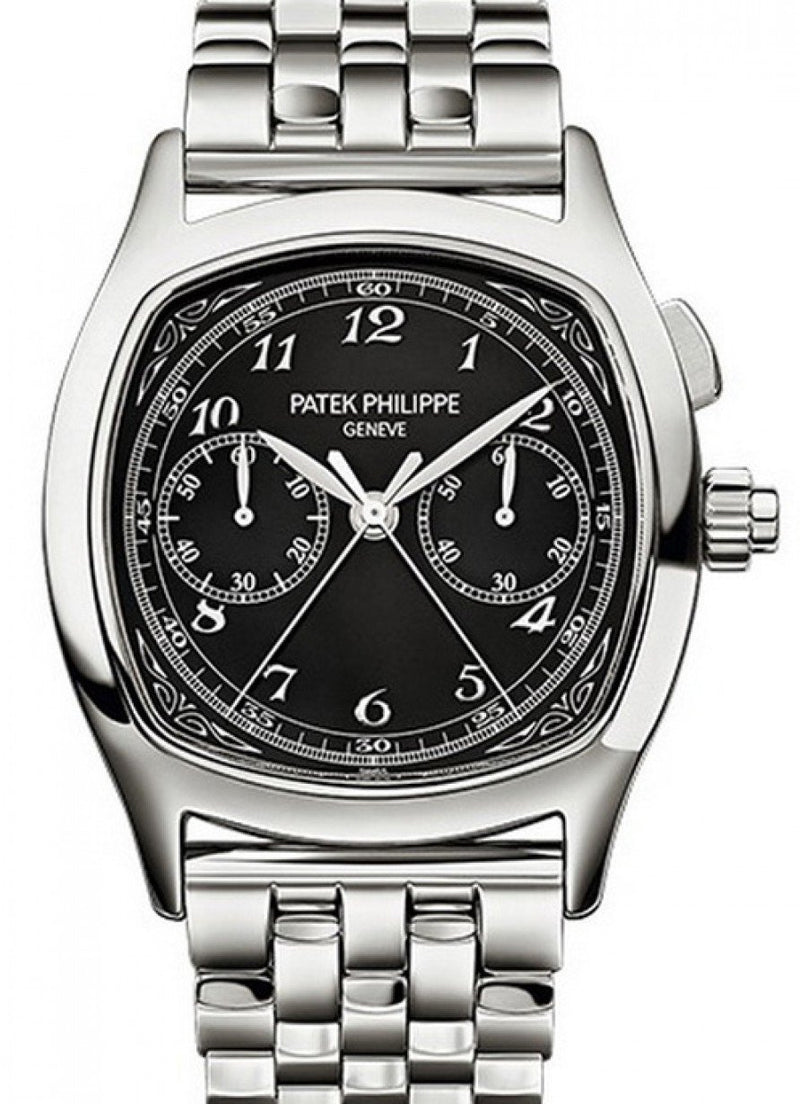 "Men's Patek Philippe 5950/1A-012 Grand Complications Chronograph 37 Ã"""" 44.6mm Black Arabic Stainless Steel Manual - BRAND NEW"
