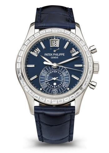 Men's Patek Philippe 5961P-001 Complications Day-Date Annual Calendar Chronograph 40.5mm Blue Index Baguette Diamond Platinum Automatic BRAND NEW - Global Timez