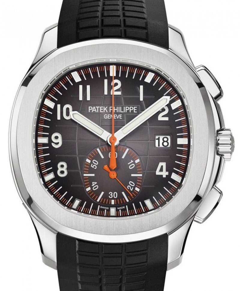 Men's Patek Philippe Aquanaut Chronograph Black Arabic Orange Stainless Steel 42.2mm 5968A-001 - BRAND NEW