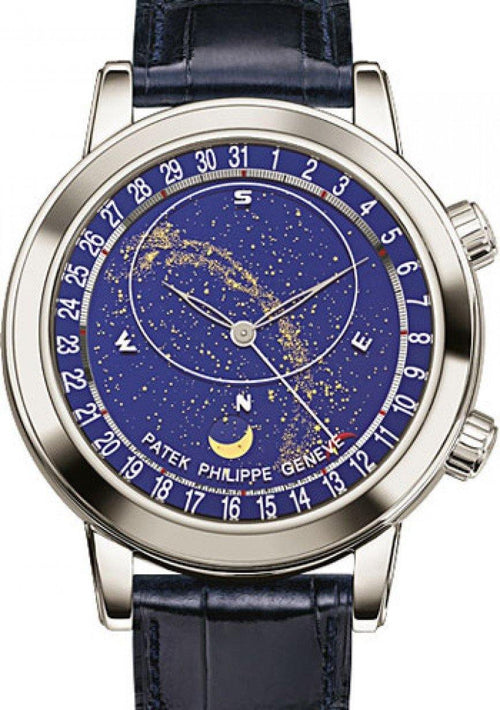 Men's Patek Philippe 6102P-001 Grand Complications Perpetual Calendar Chronograph 44mm Blue Sky Chart Platinum Leather Automatic BRAND NEW - Global Timez