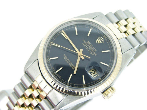 Men's Rolex Two-Tone 18K/SS Datejust Black 16013 PRE-OWNED - Global Timez