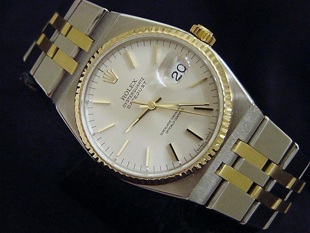Men's Rolex Two-Tone 18K/SS Oysterquartz Datejust Silver 17013 PRE-OWNED