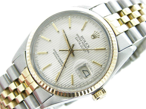 Men's Rolex Two-Tone 18K/SS Datejust Silver 16013 PRE-OWNED - Global Timez