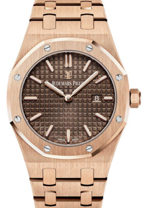 Audemars Piguet 67650OR.OO.1261OR.01 Royal Oak Quartz Ladies 33mm Brown Index Rose Gold - BRAND NEW - Global Timez