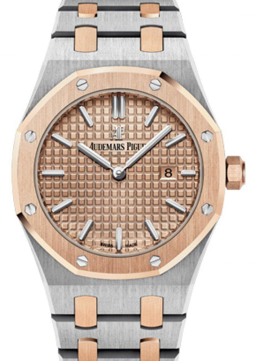 Audemars Piguet 67650SR.OO.1261SR.01 Royal Oak Quartz Ladies 33mm Champagne Index Rose Gold Stainless Steel - BRAND NEW - Global Timez