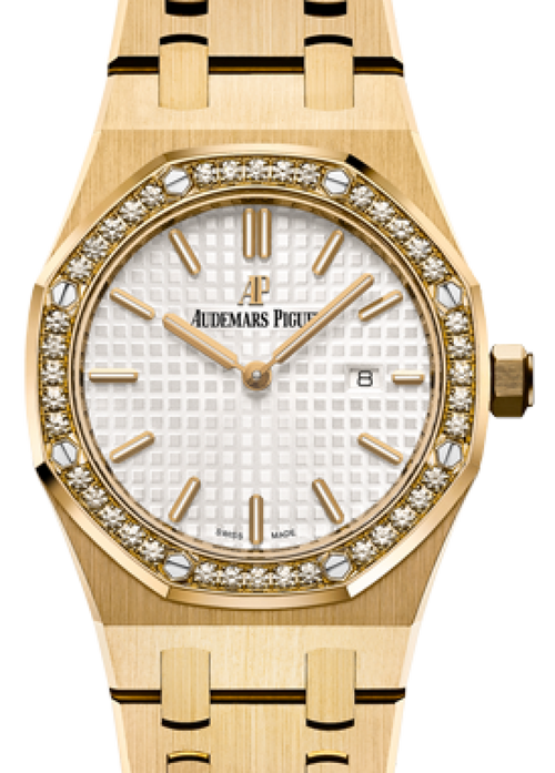 Audemars Piguet 67651BA.ZZ.1261BA.01 Royal Oak Quartz Ladies 33mm Silver Index Yellow Gold - BRAND NEW - Global Timez