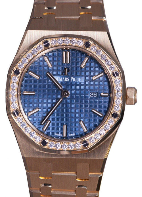 Audemars Piguet 67651BA.ZZ.1261BA.02 Royal Oak Quartz Ladies 33mm Blue Index Yellow Gold - BRAND NEW - Global Timez
