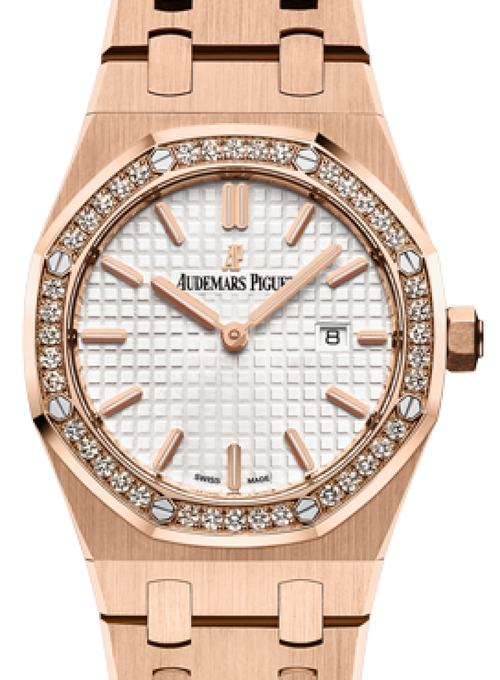Audemars Piguet 67651OR.ZZ.1261OR.01 Royal Oak Quartz Ladies 33mm Silver Index Diamond Bezel Rose Gold - BRAND NEW - Global Timez