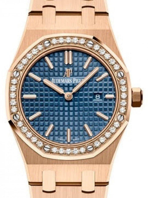 Ladies Audemars Piguet Royal Oak Quartz 67651OR.ZZ.1261OR.02 Blue Index Diamond Bezel Rose Gold 33mm - BRAND NEW - Global Timez