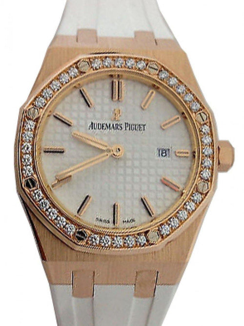 Audemars Piguet 67651OR.ZZ.D010CA.01 Royal Oak Quartz Ladies 33mm Silver Index Diamond Bezel Rose Gold White Rubber - BRAND NEW - Global Timez