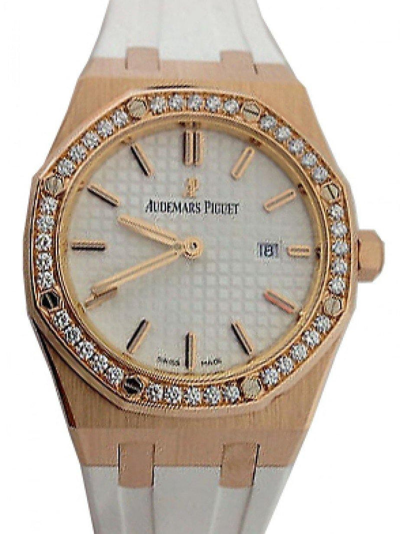 Audemars Piguet 67651OR.ZZ.D010CA.01 Royal Oak Quartz Ladies 33mm Silver Index Diamond Bezel Rose Gold White Rubber - BRAND NEW