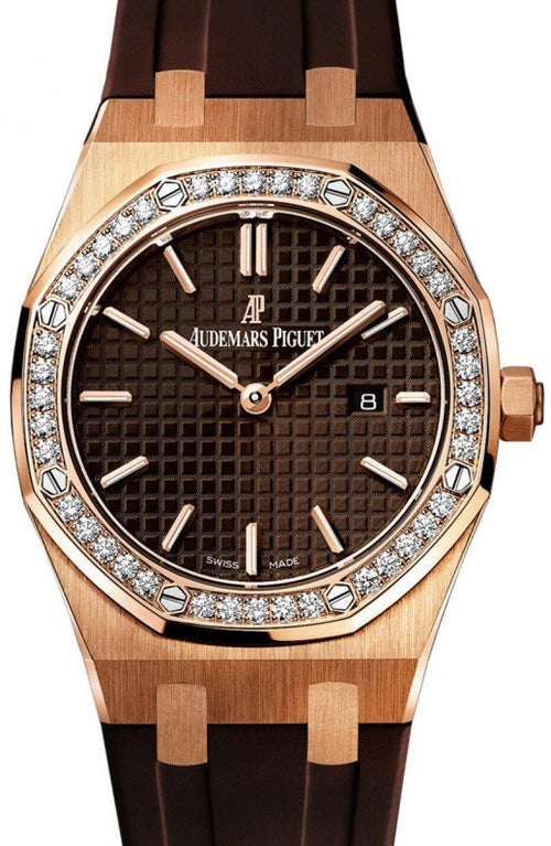 Audemars Piguet 67651OR.ZZ.D080CA.01 Royal Oak Quartz Ladies 33mm Brown Index Diamond Bezel Rose Gold Rubber - BRAND NEW - Global Timez