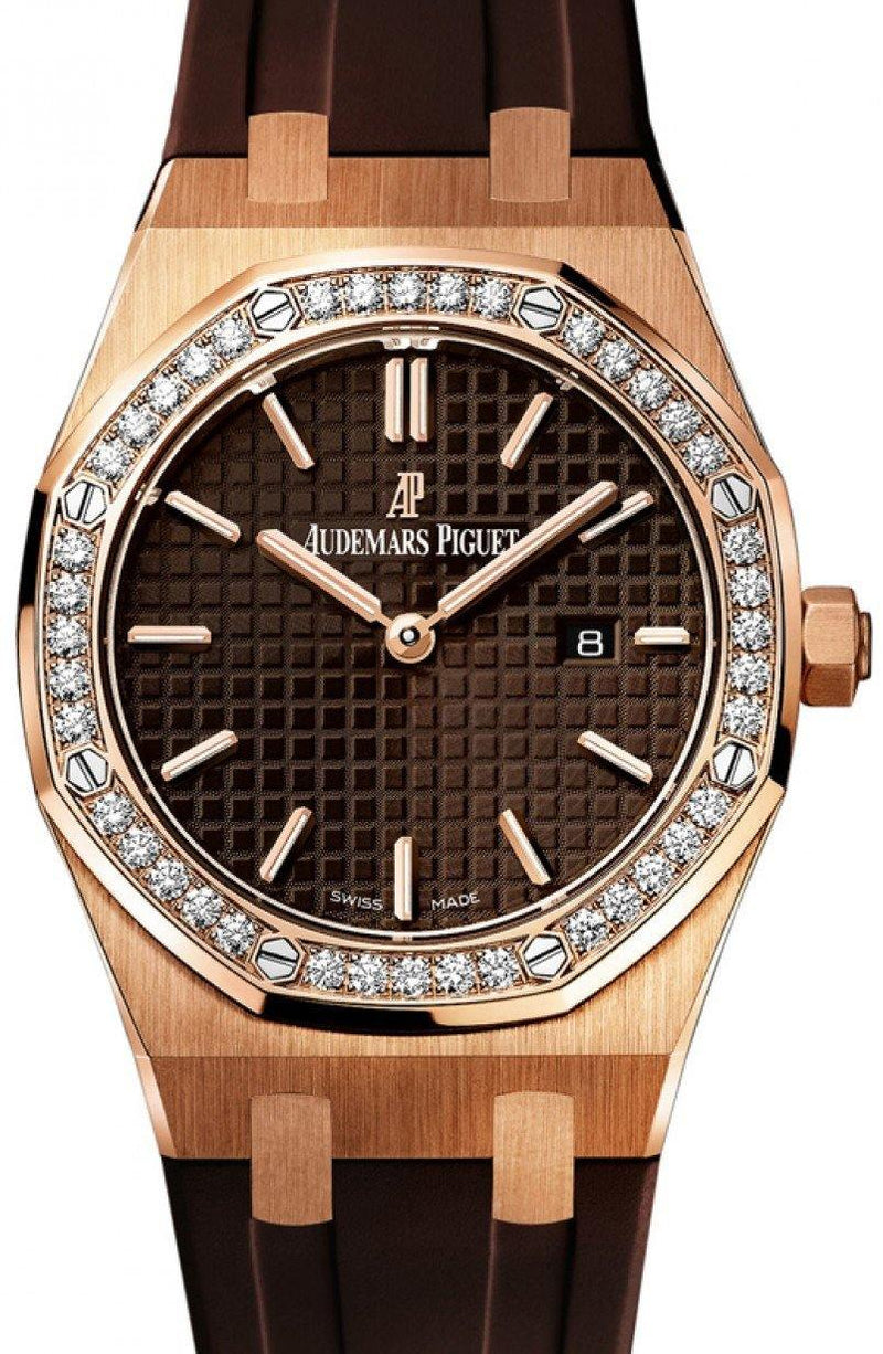 Audemars Piguet 67651OR.ZZ.D080CA.01 Royal Oak Quartz Ladies 33mm Brown Index Diamond Bezel Rose Gold Rubber - BRAND NEW