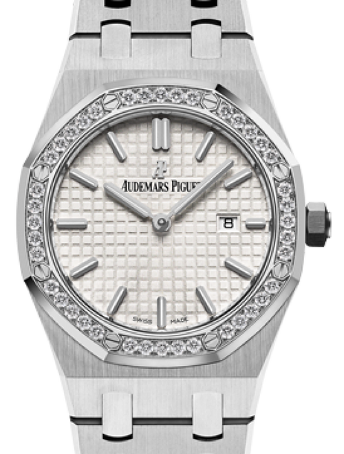 Audemars Piguet 67651ST.ZZ.1261ST.01 Royal Oak Quartz Ladies 33mm Silver Index Diamond Bezel Stainless Steel - BRAND NEW - Global Timez