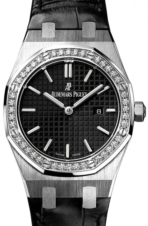 Audemars Piguet 67651ST.ZZ.D002CR.01 Royal Oak Quartz Ladies 33mm Black Index Diamond Bezel Stainless Steel - BRAND NEW - Global Timez