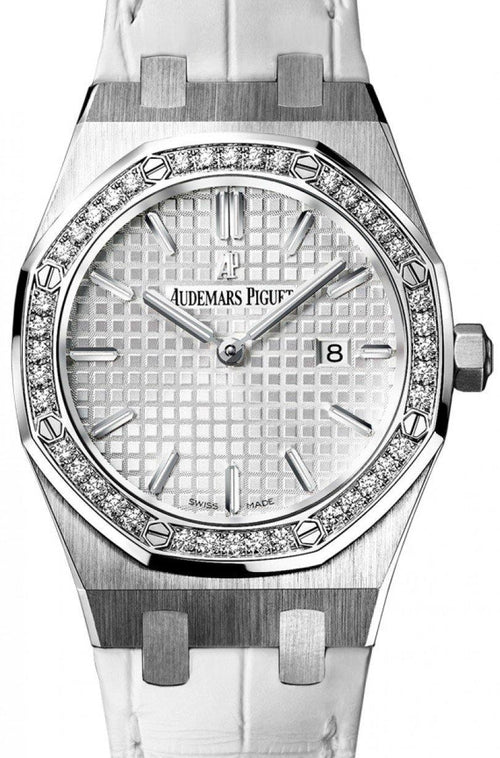 Audemars Piguet 67651ST.ZZ.D011CR.01 Royal Oak Quartz Ladies 33mm Silver Index Diamond Bezel Stainless Steel Leather - BRAND NEW - Global Timez