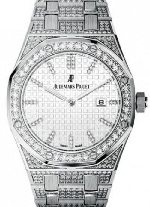 Audemars Piguet 67652BC.ZZ.1262BC.01 Royal Oak Quartz Ladies 33mm Silver Diamond Index White Gold Diamond Set - BRAND NEW - Global Timez