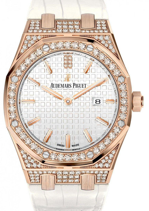 Audemars Piguet 67652OR.ZZ.D011CR.01 Royal Oak Quartz Ladies 33mm Silver Index Diamond Bezel Rose Gold Diamond Set Leather - BRAND NEW - Global Timez
