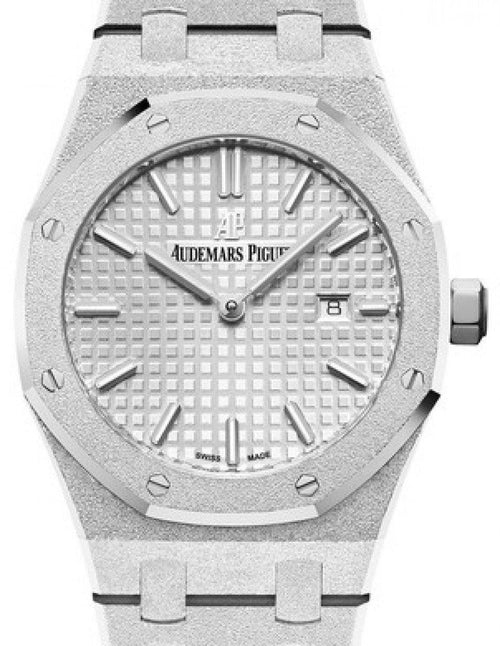 Ladies Audemars Piguet Royal Oak Frosted Gold 67653BC.GG.1263BC.01 Rhodium Index White Gold 33mm Quartz - BRAND NEW - Global Timez