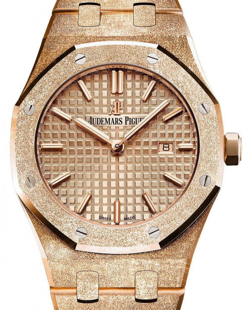 Ladies Audemars Piguet Royal Oak Frosted Gold Quartz 67653OR.GG.1263OR.02 Pink Index Pink Gold 33mm - BRAND NEW - Global Timez
