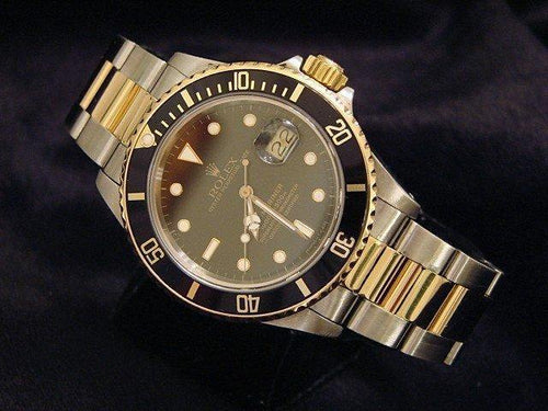 Men's Rolex Two-Tone 18K/SS Submariner Black 16803 PRE-OWNED - Global Timez