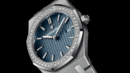 Ladies Audemars Piguet Royal Oak Quartz 67651IP.ZZ.1261IP.01 Blue Index Diamond Bezel Titanium 33mm Quartz - BRAND NEW - Global Timez